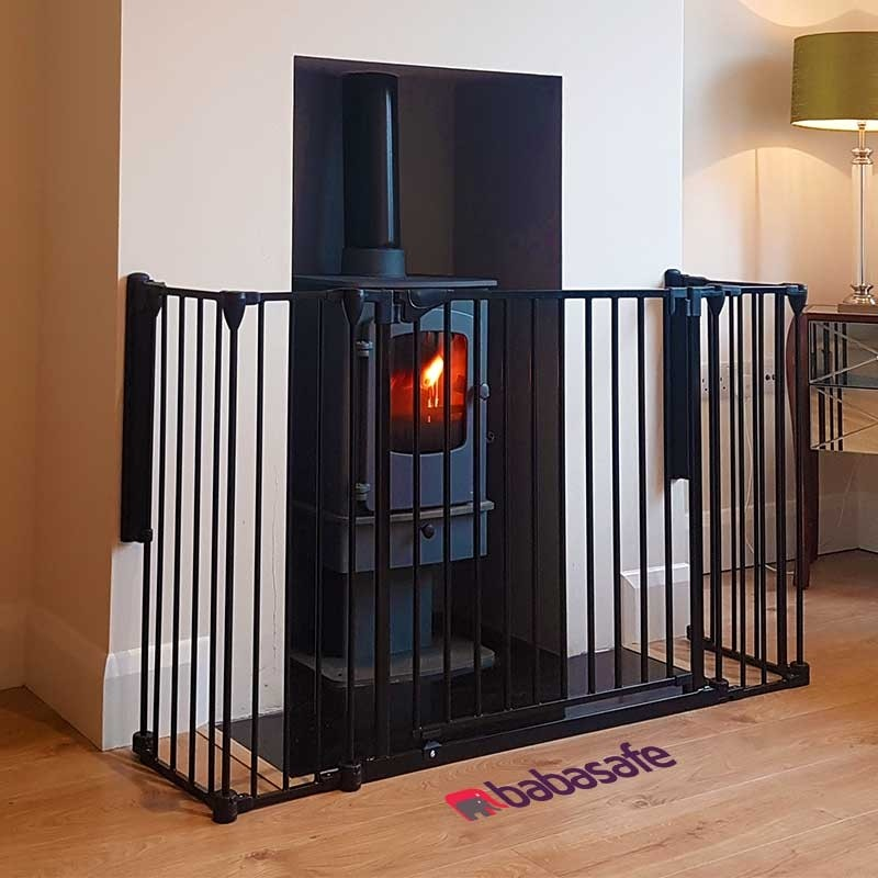 Pet Fire Guard Heavy Duty Steel Fireplace Fence w// Centre Swing Gate Door NEW